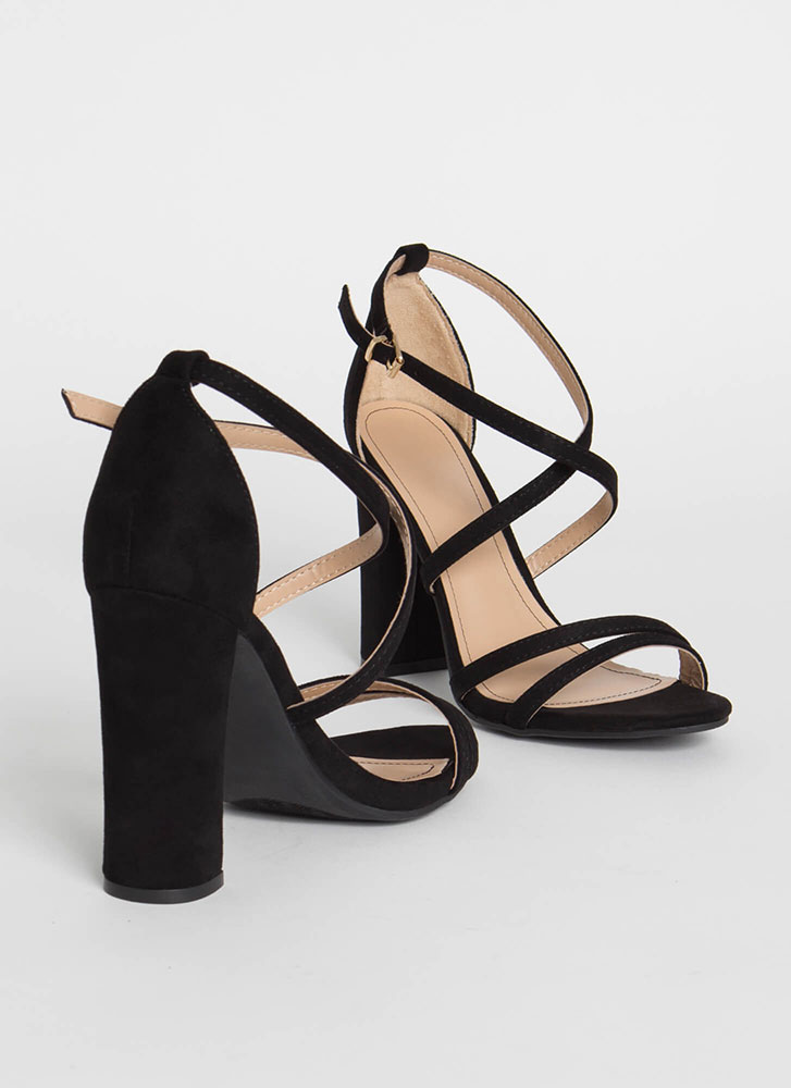 My Strappy Ever After Chunky Heels BLACK