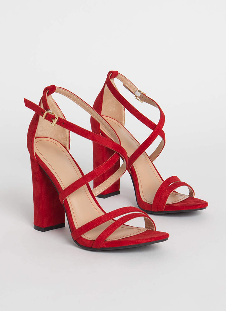 My Strappy Ever After Chunky Heels RED