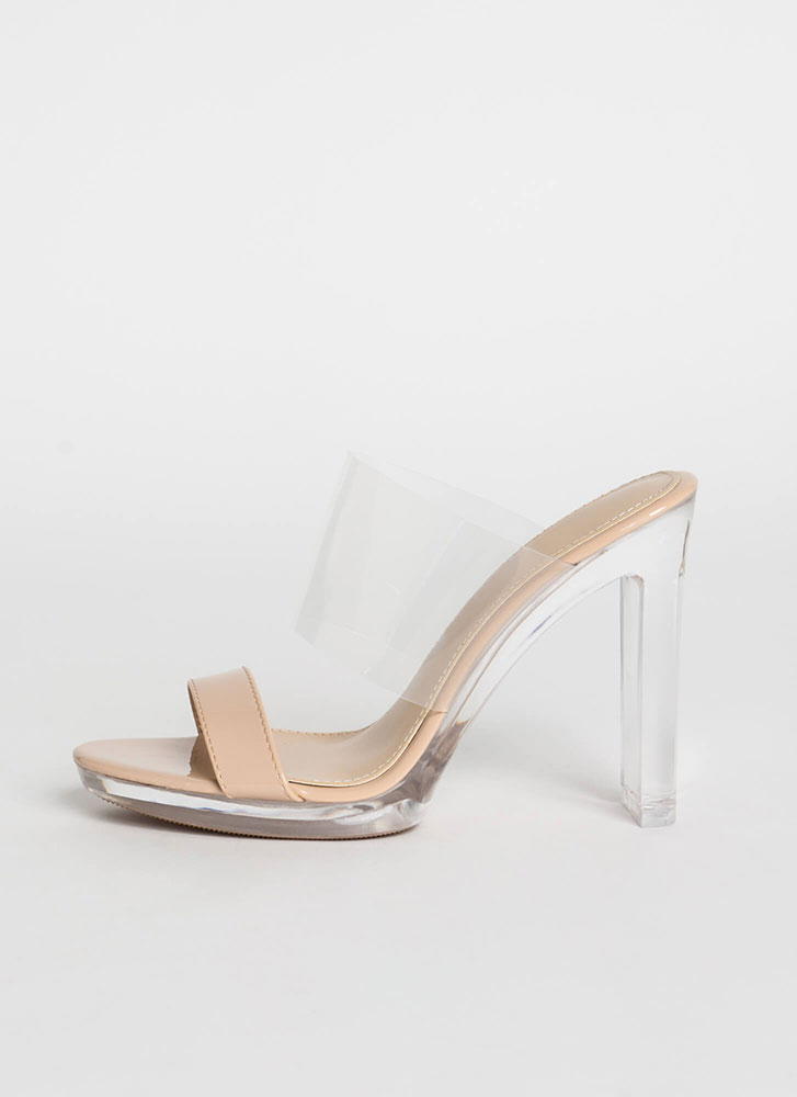 Clear And Now Faux Patent Illusion Heels NUDE