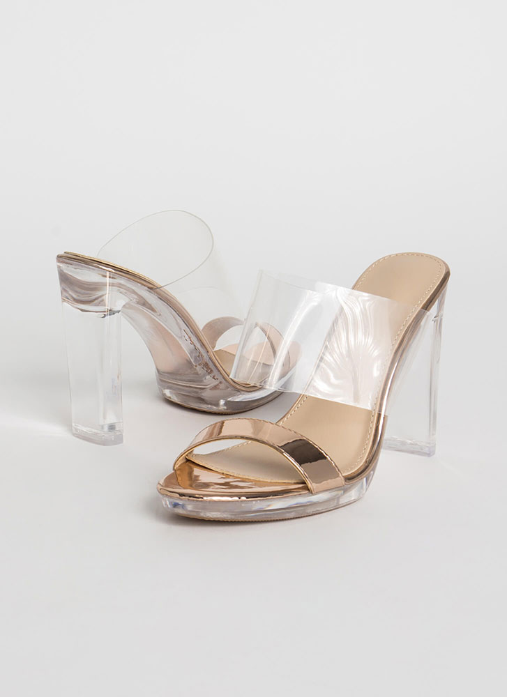 Clear And Now Metallic Illusion Heels ROSEGOLD