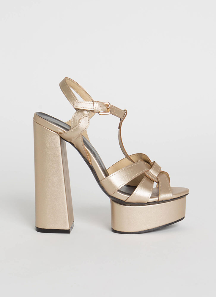 Retro Party Strappy Chunky Platforms CHAMPAGNE