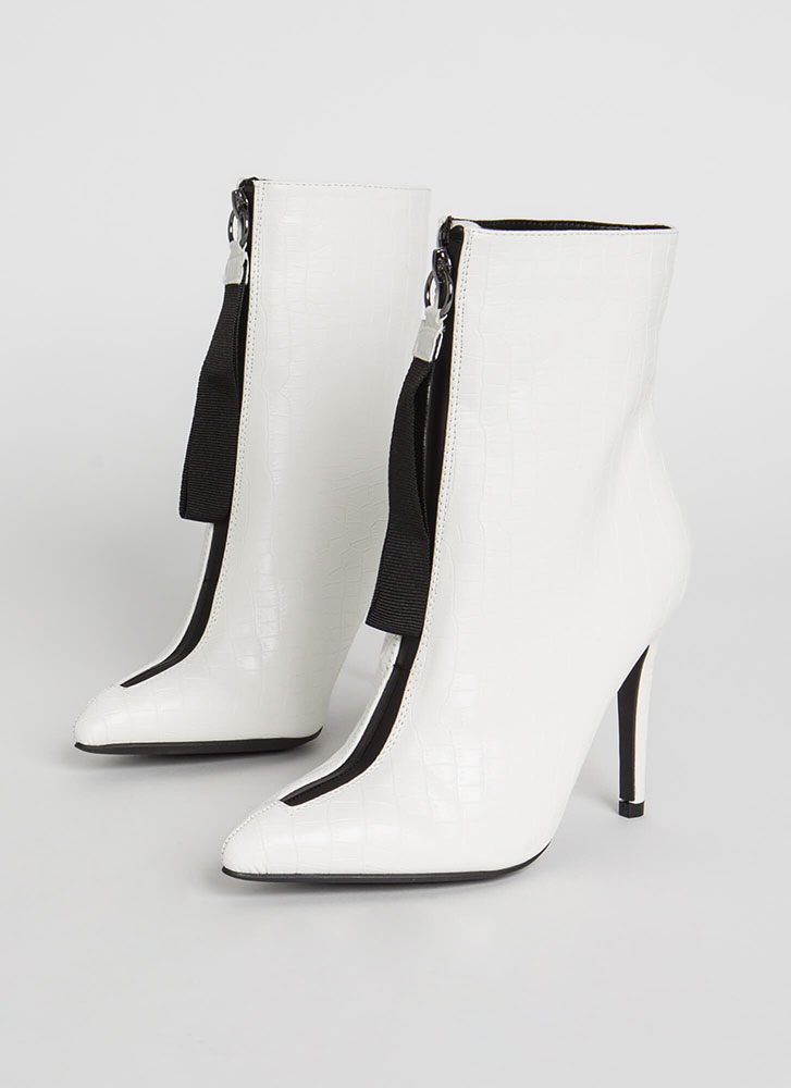 Pull Ahead Zip-Up Faux Crocodile Booties WHITE