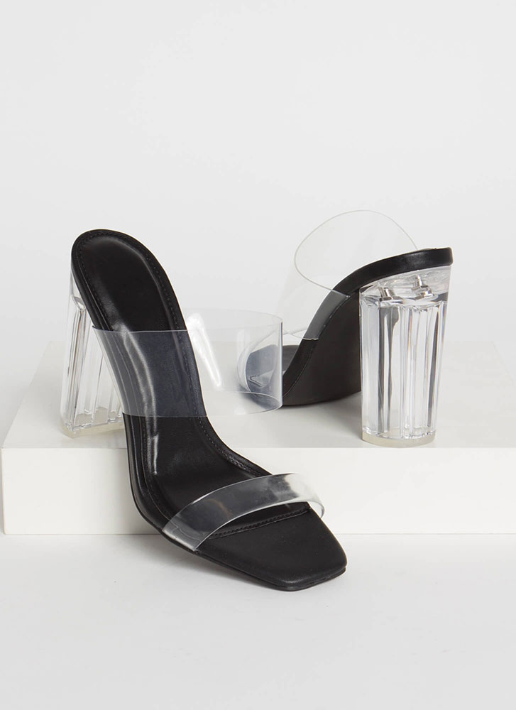 Clear Your Name Chunky Lucite Heels BLACK