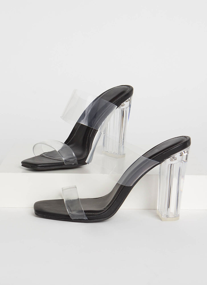 Clear Your Name Chunky Lucite Heels BLACK (Final Sale)