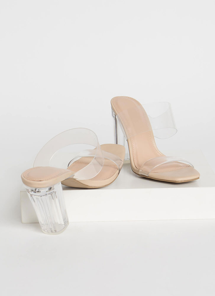 Clear Your Name Chunky Lucite Heels NATURAL