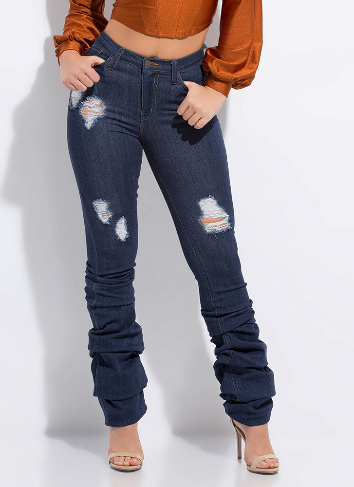 Good Bunch Scrunched Distressed Jeans DKBLUE