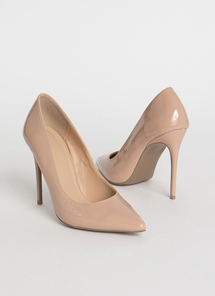 Serious Stilettos Pointy Glossy Pumps NUDE