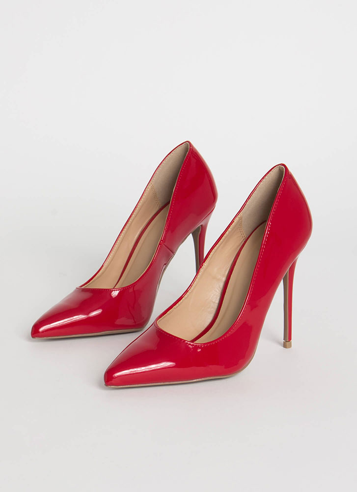 Serious Stilettos Pointy Glossy Pumps RED