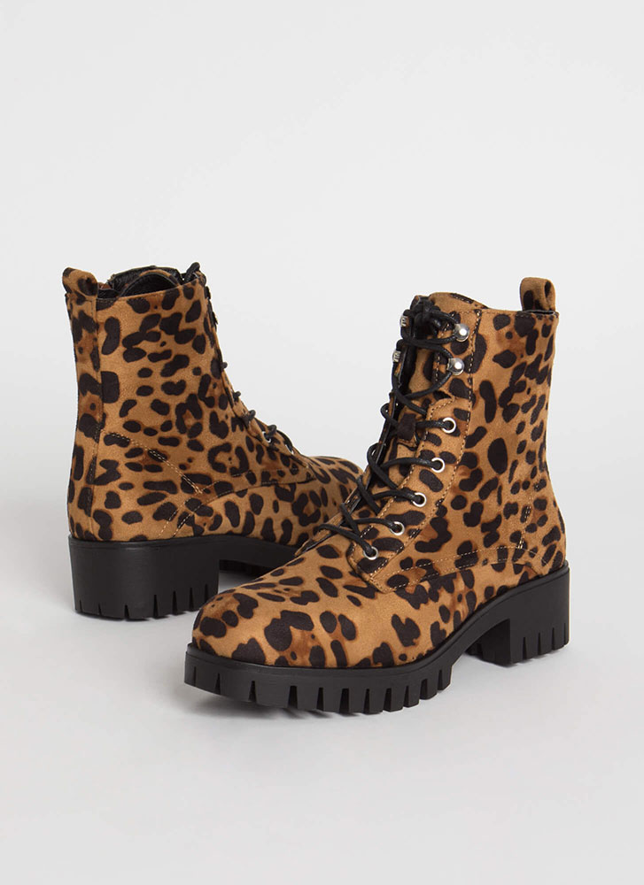 Cool Combat Leopard Lace-Up Boots LEOPARD