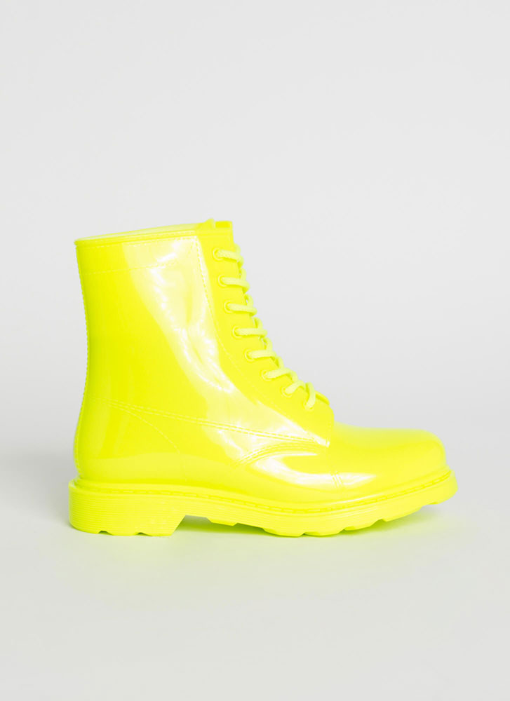 Combat The Rain Lace-Up PVC Boots NYELLOW
