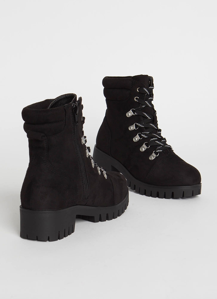 Work It Out Faux Suede Lace-Up Boots BLACK