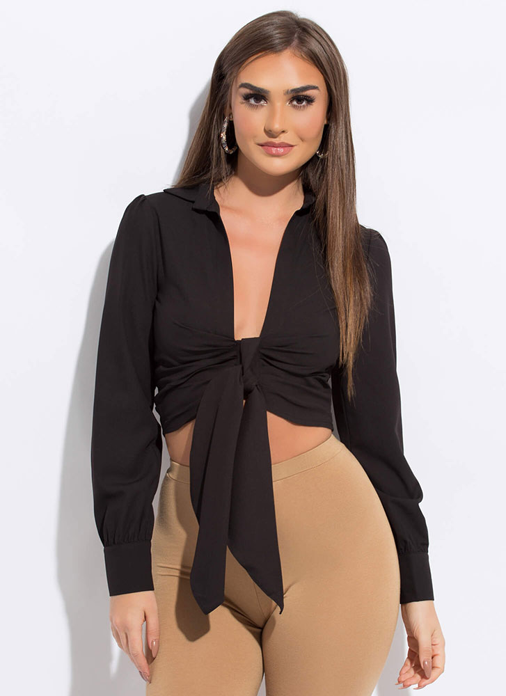 European Vacation Tied Cropped Blouse BLACK