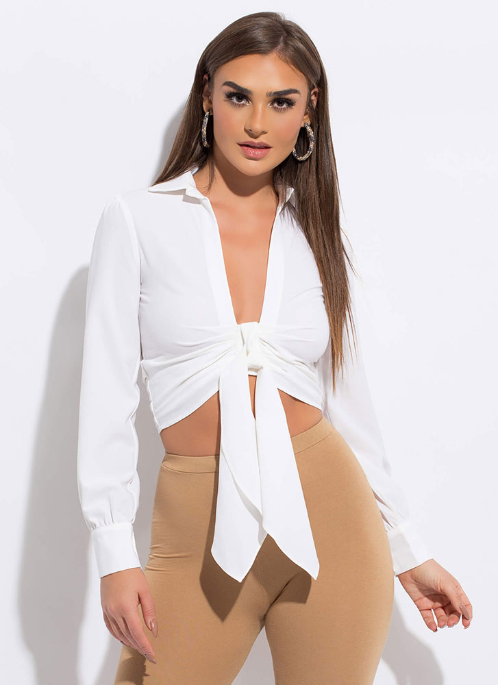 European Vacation Tied Cropped Blouse WHITE