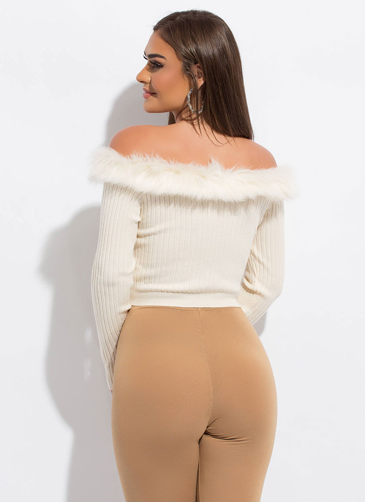 Perfect Fur You Off-Shoulder Crop Top WHITE