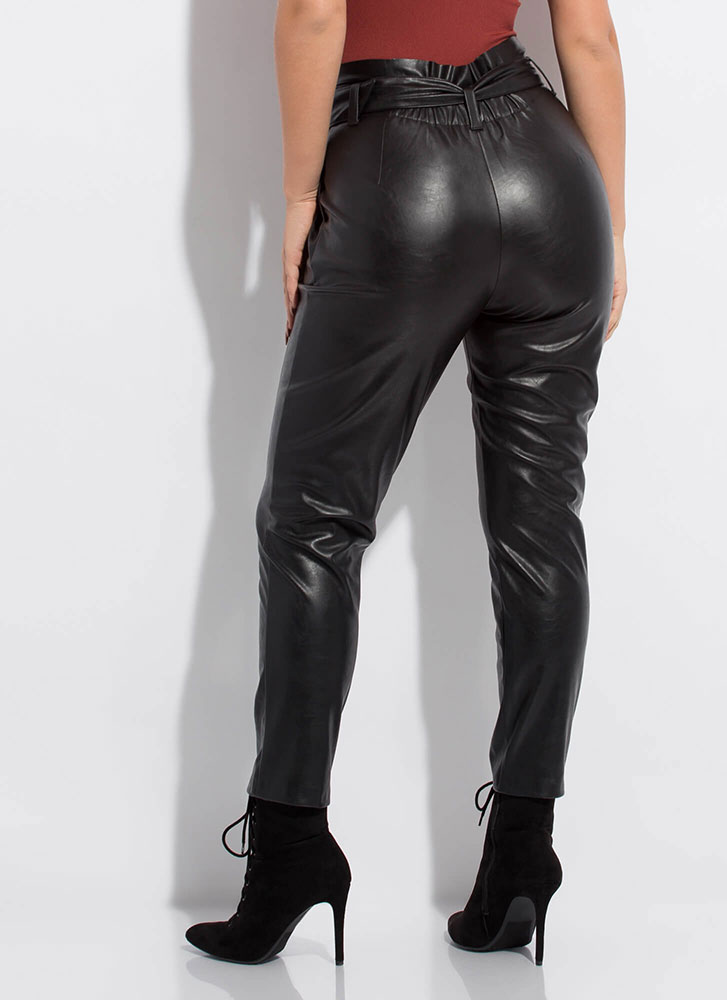 New Life Faux Leather Paper-Bag Trousers BLACK