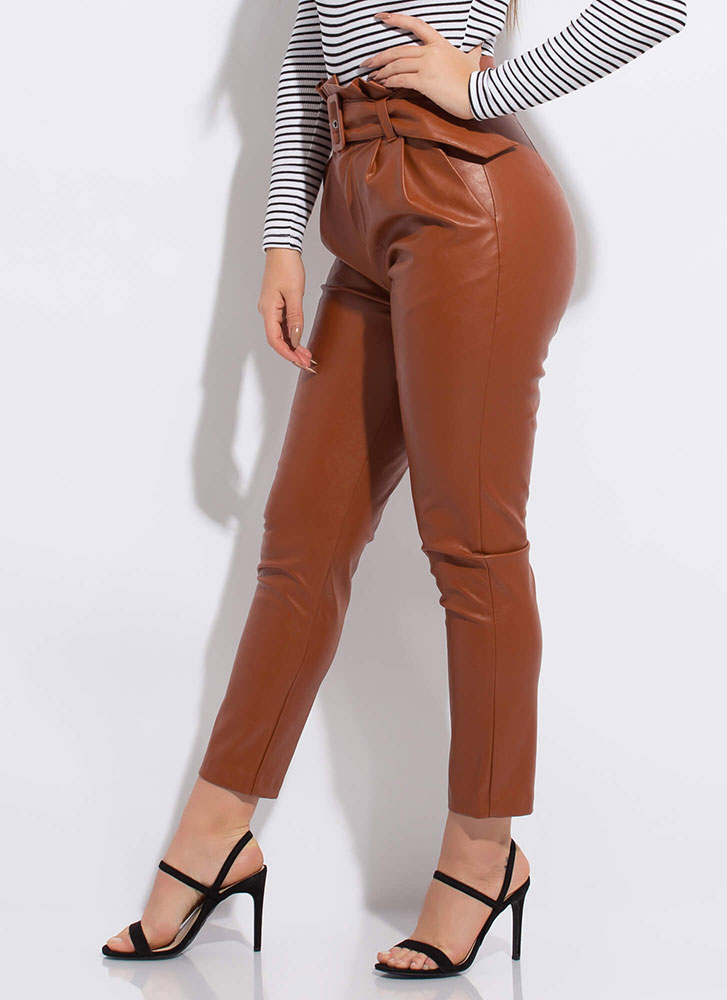 New Life Faux Leather Paper-Bag Trousers CARAMEL