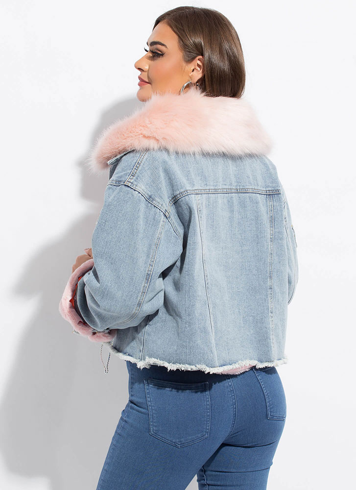 Fur Another Option Layered Jean Jacket PINK