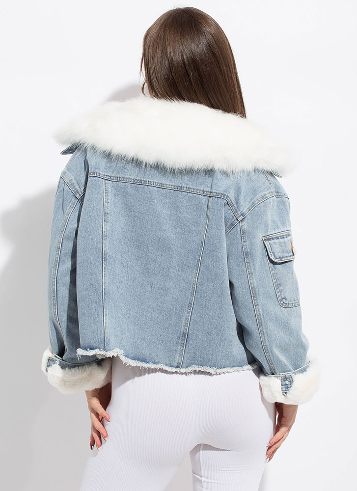 Fur Another Option Layered Jean Jacket WHITE
