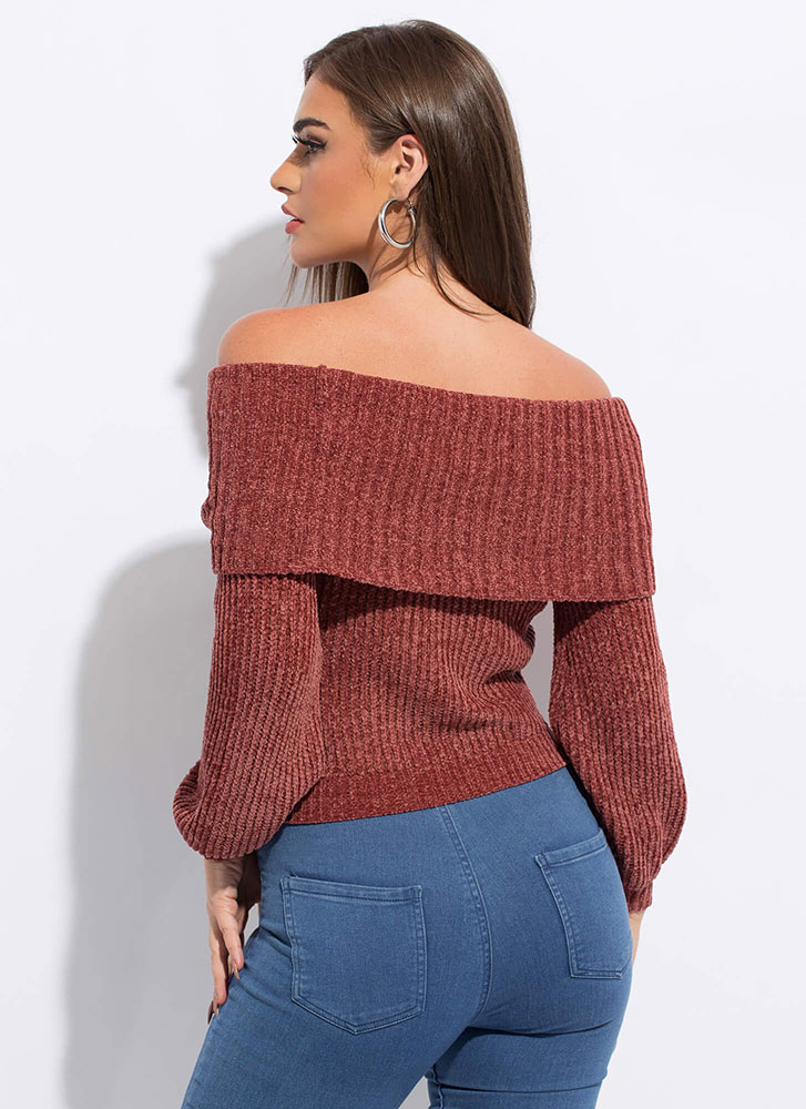 Softie Knit Off-The-Shoulder Sweater RUST