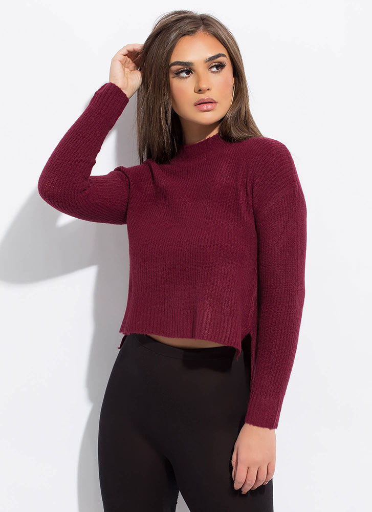 Warming Up High-Low Knit Sweater BURGUNDY