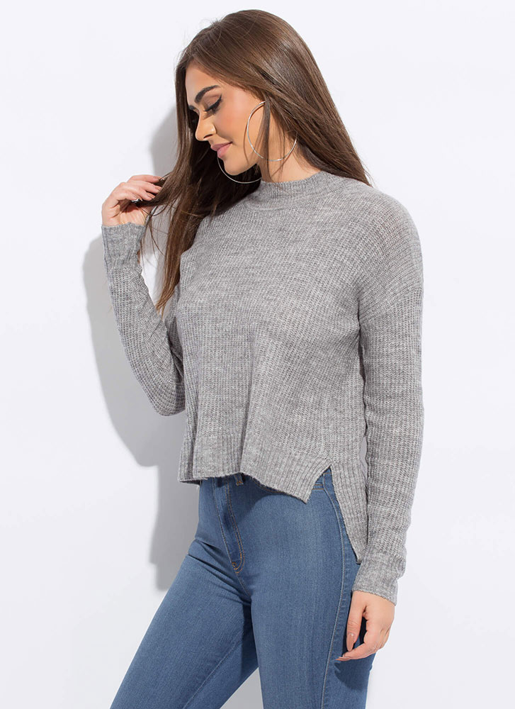 Warming Up High-Low Knit Sweater GREY
