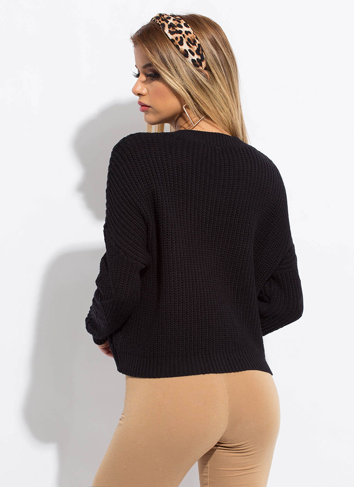 Warm Welcome Zigzag Knit Sweater BLACK