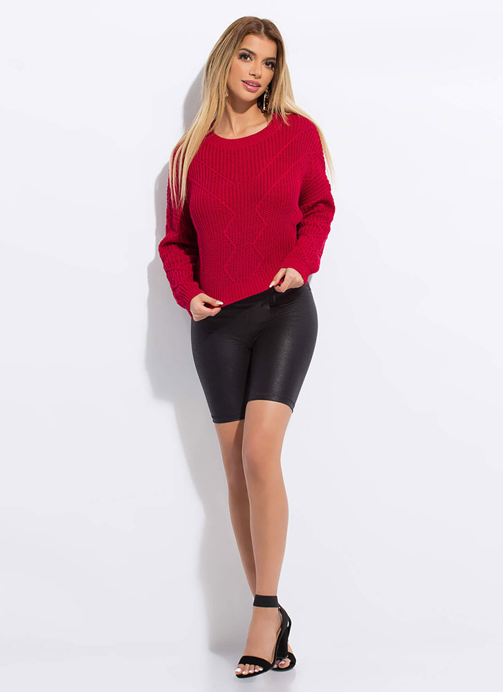 Warm Welcome Zigzag Knit Sweater RED