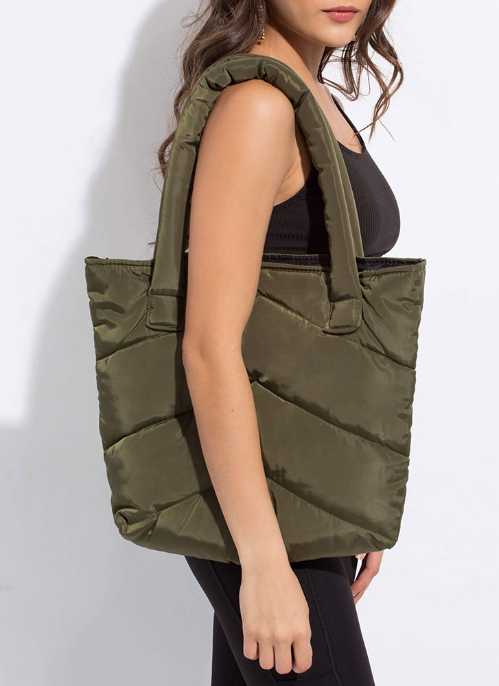 Puffy Jacket Padded Tote Bag OLIVE