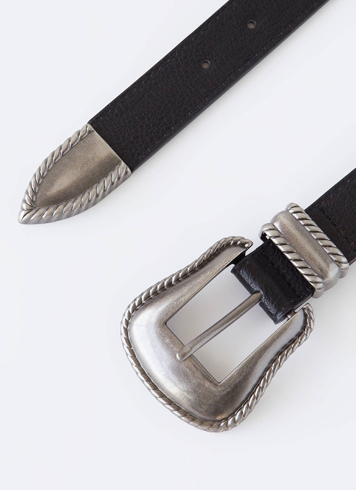 How The West Was Worn Faux Leather Belt BLACK