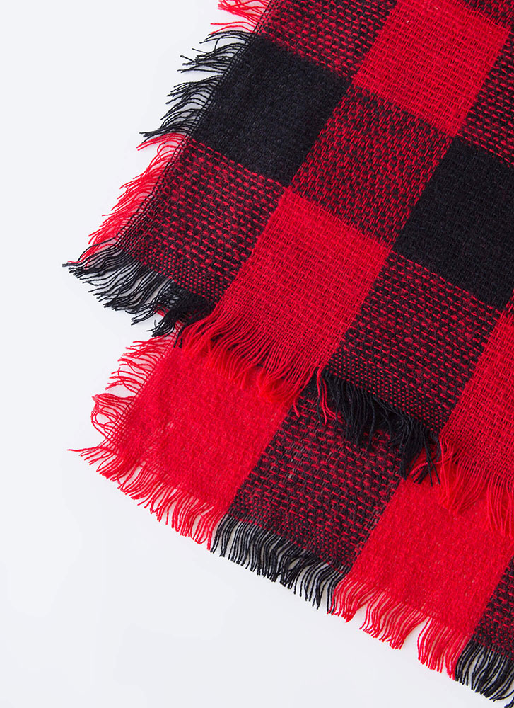 Game Of Checkers Fringed Square Scarf RED