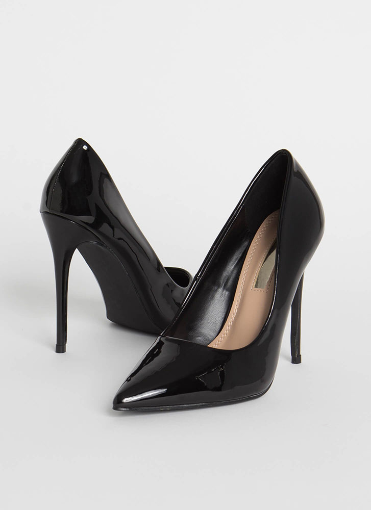 Hide And Sleek Pointy Faux Patent Pumps BLACK