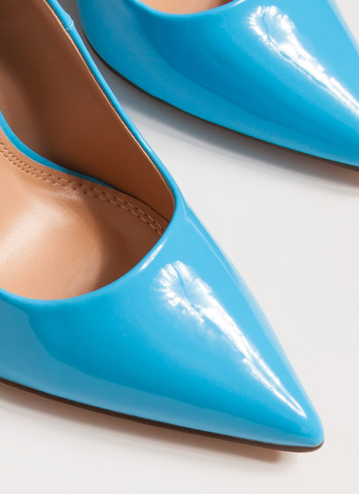 Hide And Sleek Pointy Faux Patent Pumps BLUE