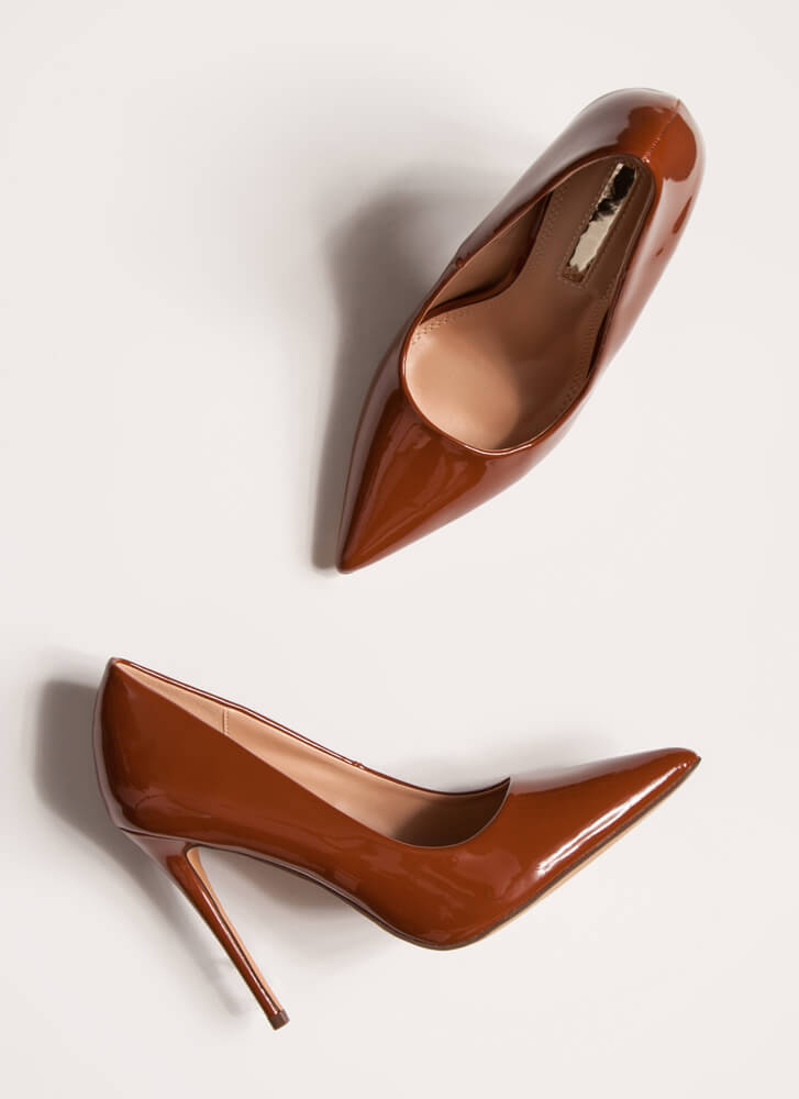 Hide And Sleek Pointy Faux Patent Pumps BROWN