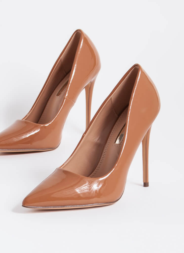 Hide And Sleek Pointy Faux Patent Pumps HONEY