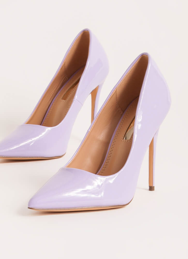Hide And Sleek Pointy Faux Patent Pumps LILAC