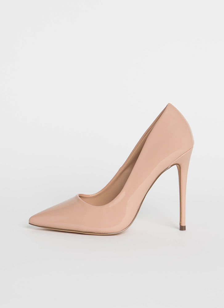 Hide And Sleek Pointy Faux Patent Pumps NUDE