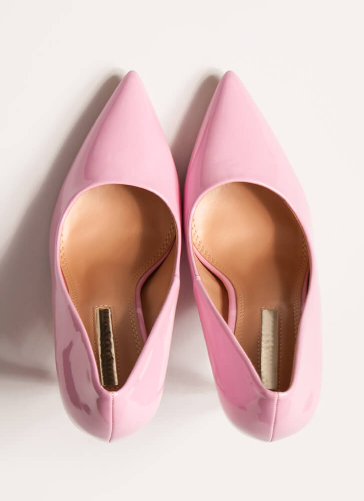 Hide And Sleek Pointy Faux Patent Pumps PINK