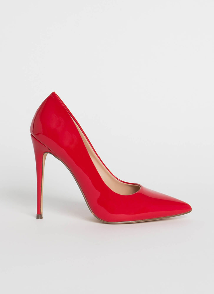 Hide And Sleek Pointy Faux Patent Pumps RED