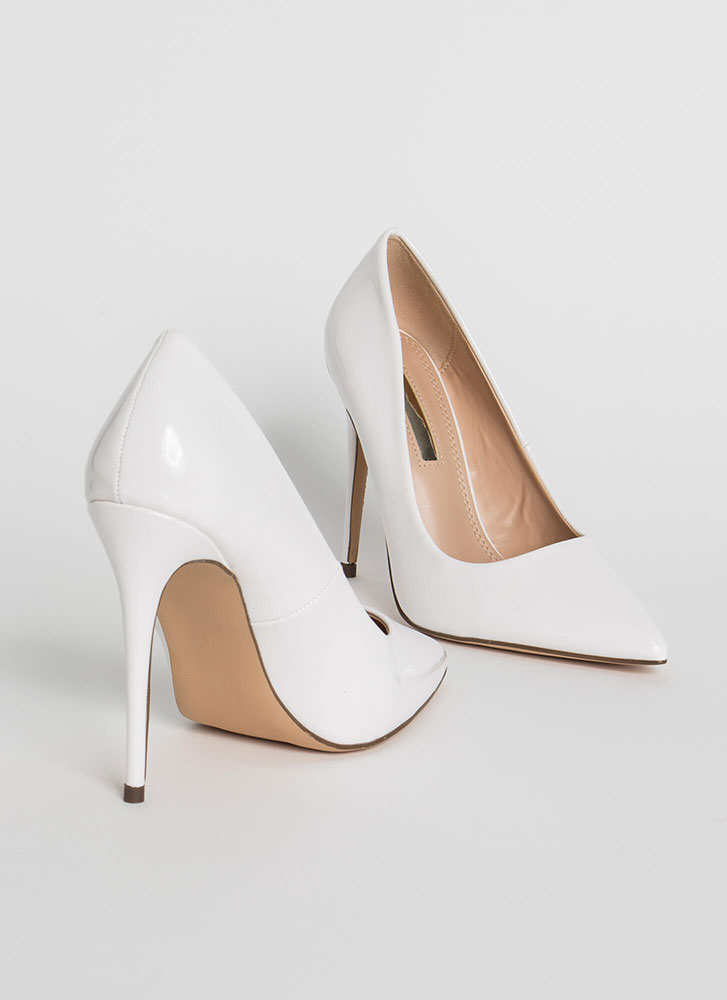 Hide And Sleek Pointy Faux Patent Pumps WHITE