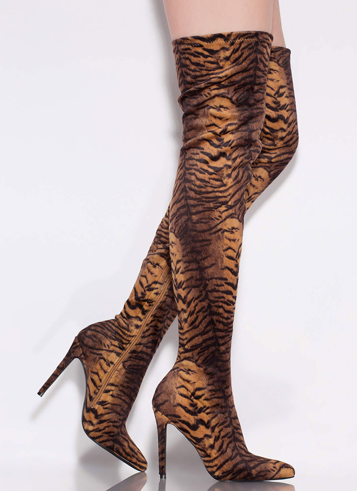 Tiger Tale Pointy Thigh-High Boots TIGER