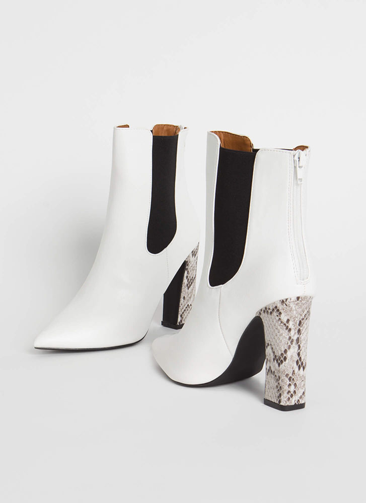 Hiss 'N Tell Chunky Snake Heel Booties WHITE