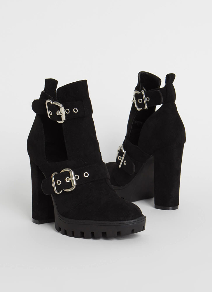 Welcome Chunky Cut-Out Lug Booties BLACK
