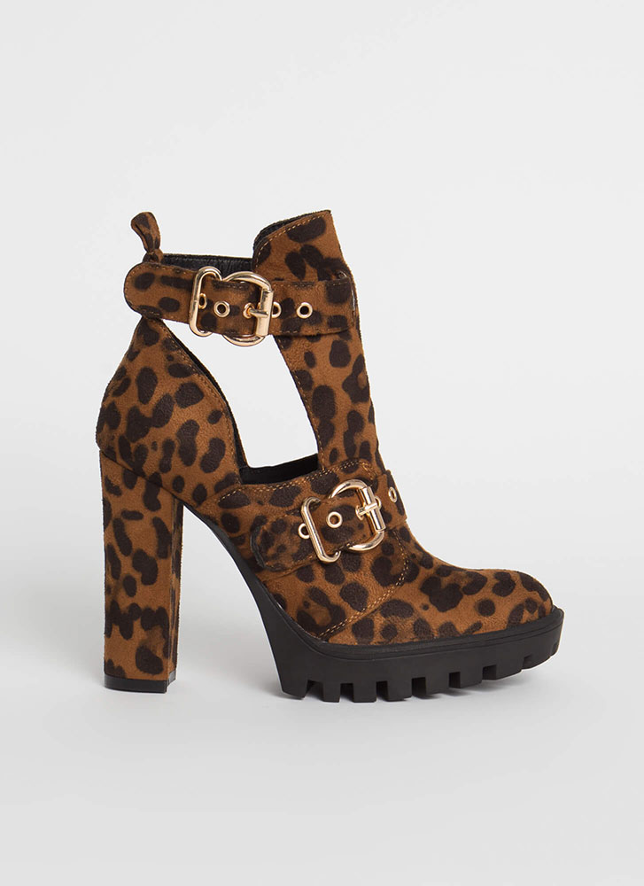 Welcome Leopard Cut-Out Lug Booties LEOPARD