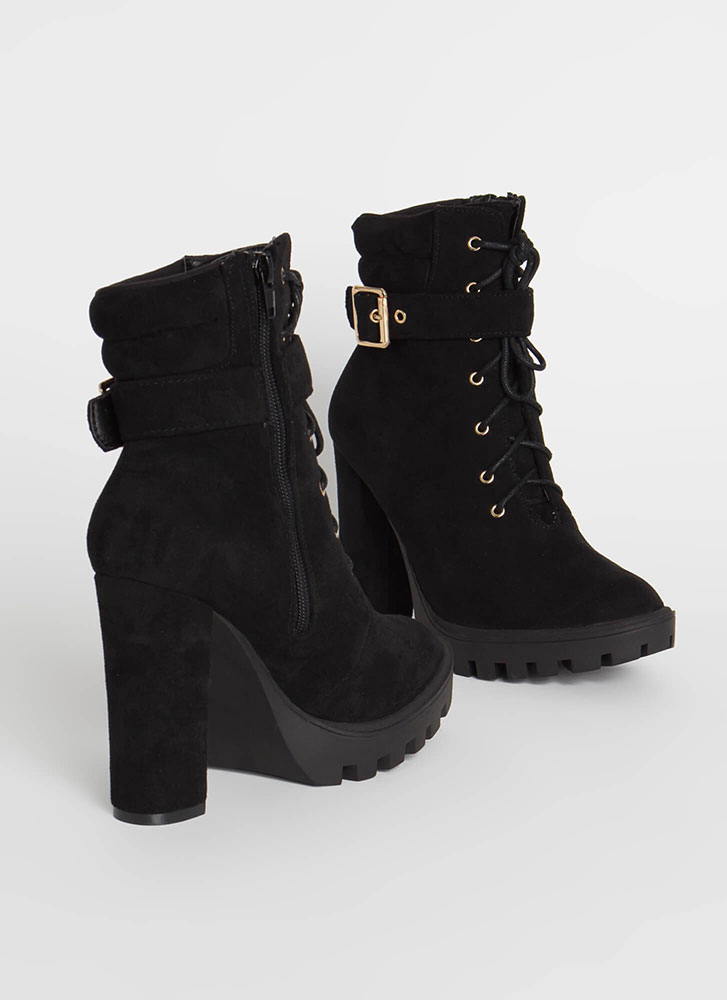 Start Now Chunky Lace-Up Lug Booties BLACK