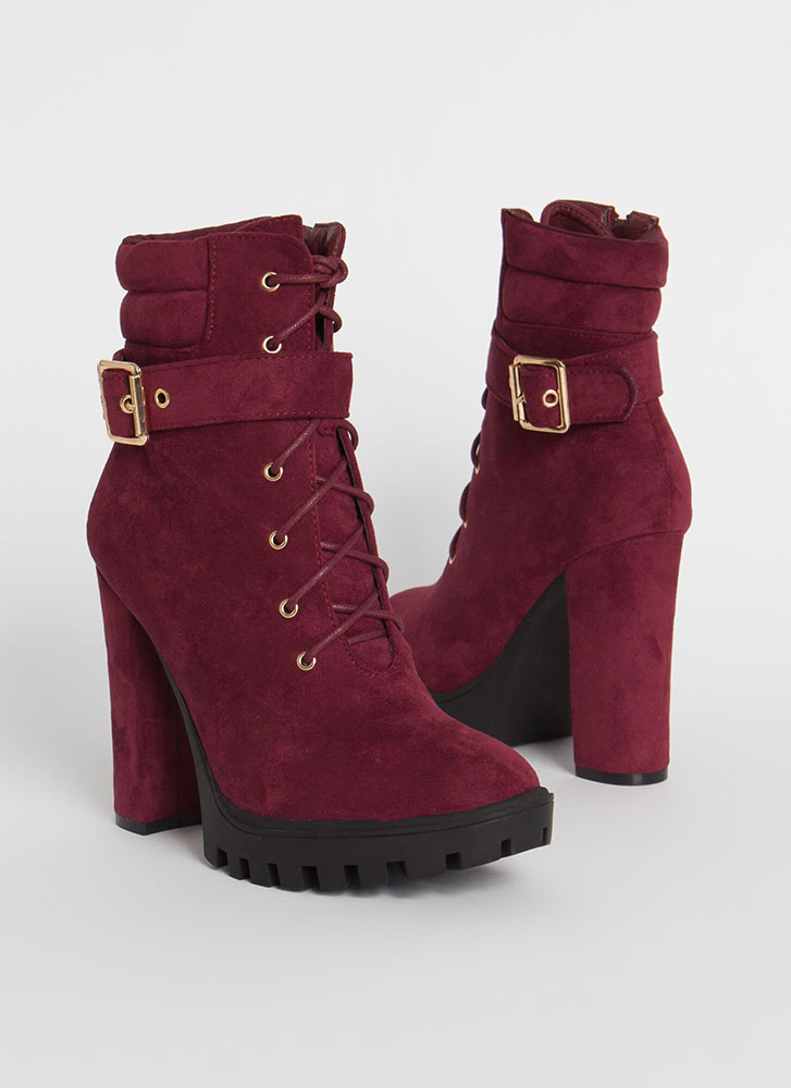 Start Now Chunky Lace-Up Lug Booties BURGUNDY
