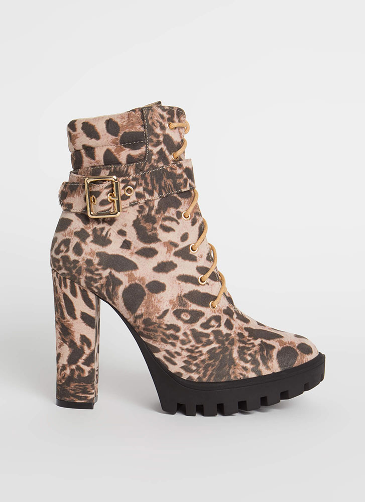 Start Now Leopard Lace-Up Lug Booties LEOPARD
