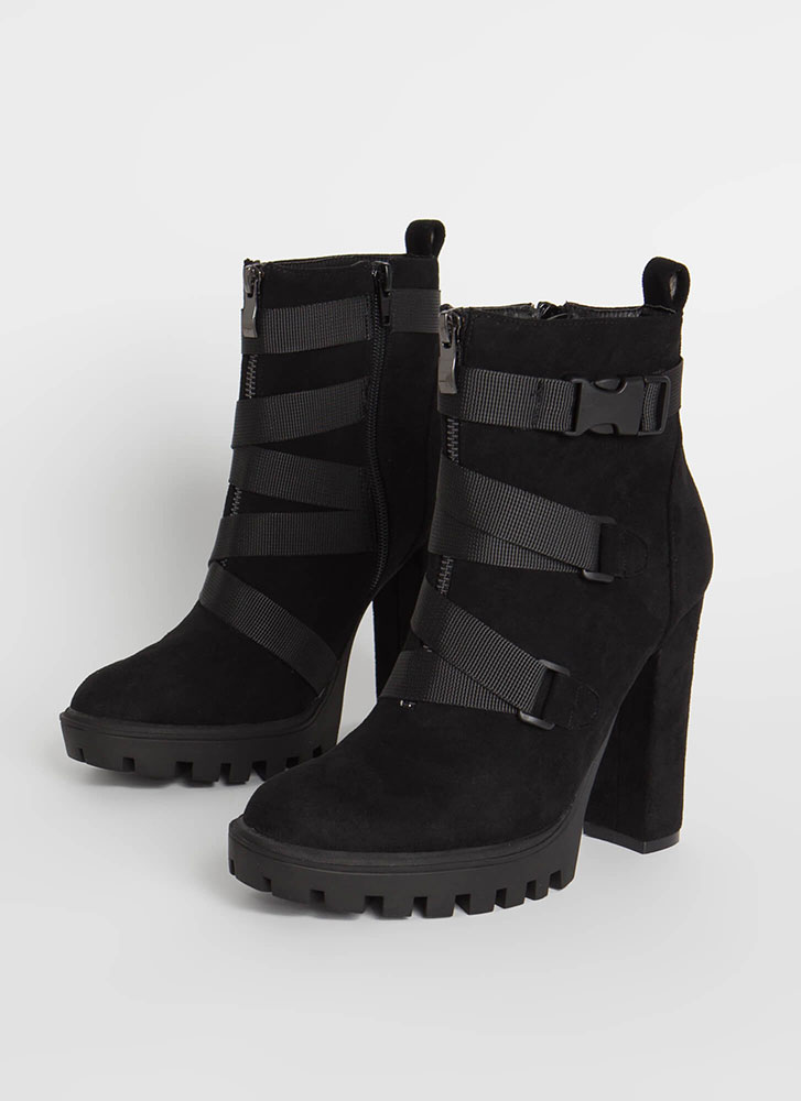 Buckle Up Chunky Strappy Lug Booties BLACK
