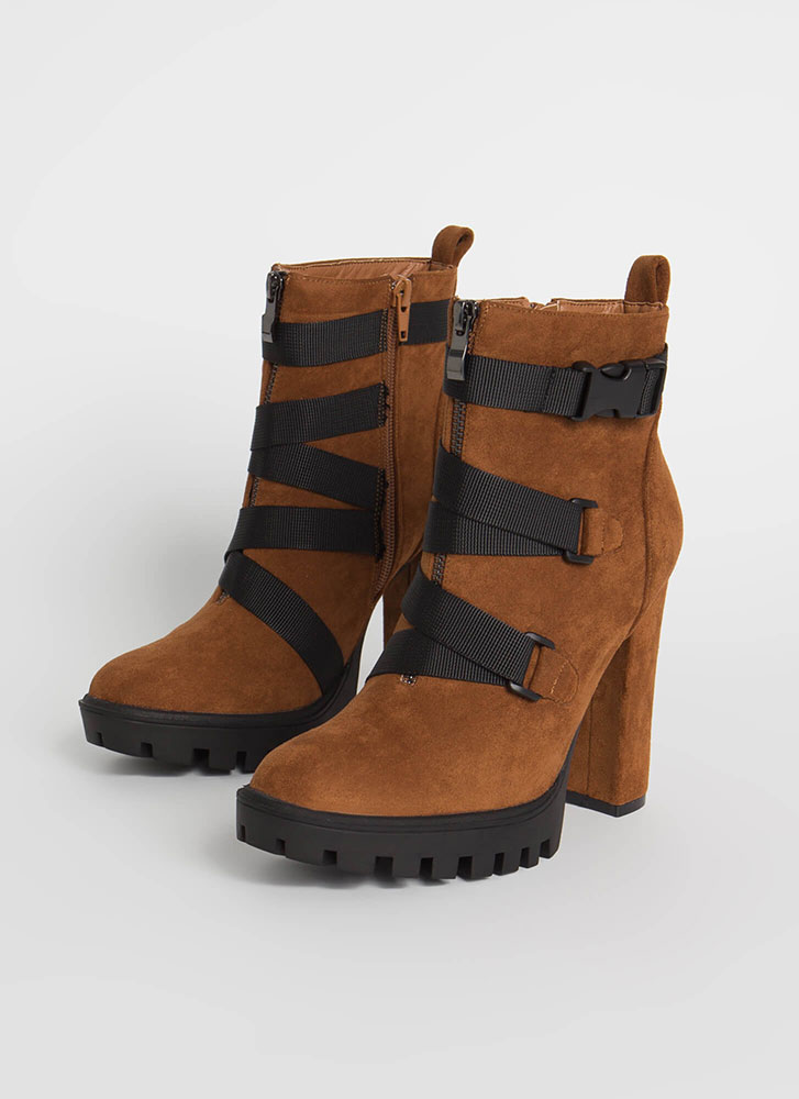 Buckle Up Chunky Strappy Lug Booties MOCHA