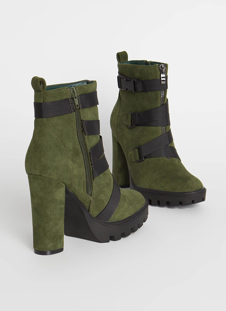 Buckle Up Chunky Strappy Lug Booties OLIVE