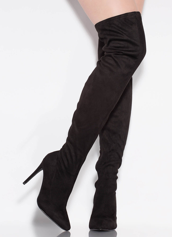 Point It Out Faux Suede Thigh-High Boots BLACK